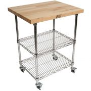 John Boos Varnique Finish Blended Maple Top Metropolitan Wire Cart, 27 x 21 x 1.5 inch -- 1 each.