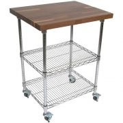 John Boos Varnique Finish Blended Walnut Top Metropolitan Wire Cart, 27 x 21 x 1.5 inch -- 1 each.
