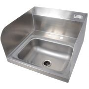 John Boos Stainless Steel Wall Mount Hand Sink with 2 Holes Deckmount Faucet and Left and Right Side Splash, 14 x 10 x 5 inch -- 1 each.