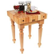 John Boos Saratoga Farm Maple Block Table with Casters, 24 x 24 x 4 inch -- 1 each.