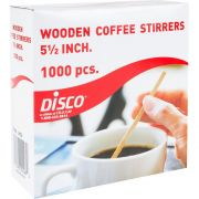 Disco Wooden Flat Edge Coffee Stirrer, 5.5 inch - 1000 per pack -- 10 packs per case.