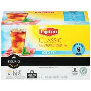 Lipton Classic Iced Unsweetened Black Tea K Cup, 12 count per pack -- 6 per case.