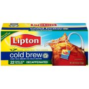 Lipton Cold Brew Decaffeinated Family Size Iced Tea, 22 count per pack -- 12 per case.