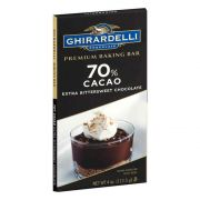 Ghirardelli 70 Percent Cacao Chocolate Baking Bar, 4 Ounce -- 12 per case.