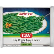 C and W Tiny Whole Green Beans, 12 Ounce -- 12 per case.