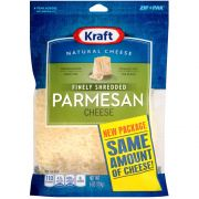 Kraft Zip Pak Natural Finely Shredded Parmesan Cheese, 6 Ounce -- 12 per case.