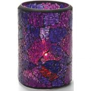 Hollowick Crackle Blue and Purple Glass Cylinder Lamp, 4 1/2 x 3 1/8 x 3 1/8 inch -- 1 each.