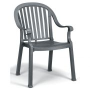 Grosfillex Colombo Charcoal Classic Stacking Dining Armchair -- 12 per case.