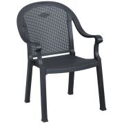 Grosfillex Sumatra Charcoal Classic Stacking Armchair -- 16 per case.