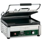 Waring Commercial Grooved Top and Flat Bottom Panini Grill with Timer, 120 Volts -- 1 each.