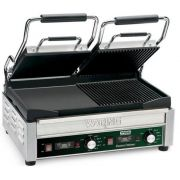Waring Commercial Dual Grooved Top and Half Panini and Half Flat Grill with Timer, 240 Volts -- 1 each.
