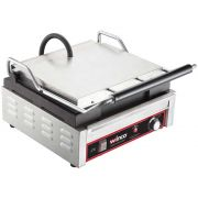Winco Ribbed Plate Single 1750W Panini Grill with Cleaning Brush, 14 inch -- 1 each.