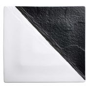 Winco Ardesia Visca Porcelain Black and White Square Platter, 13 inch -- 6 per case.