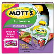 Motts Mixed Berry Unsweetened Apple Sauce, 3.2 Ounce Pouch -- 24 per case.