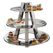 American Metalcraft Ascent3 3 Tier Hammered Display Stand, 23 x 23 x 20 inch -- 1 each.