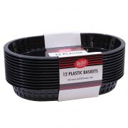 Tablecraft Cash and Carry Plastic Chicago Oval Black Basket, 10 1/2 x 7 x 1 1/2 inch -- 3 pack per case.