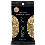 Wonderful Roasted and Salted Pistachios, 5 Ounce -- 24 per case.