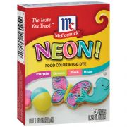 McCormick Neon Assorted Food Coloring and Egg Dye, 1 Fluid Ounce -- 144 per case.