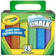 Crayola Washable Anti Roll Sidewalk Chalk - 24 per pack -- 4 packs per case.