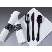 Hoffmaster FashnPoint Caterwrap Crescent Pre Wrapped Black Cutlery, 15.5 x 15.5 inch -- 100 per case.