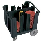 Cambro S Series Adjustable Dish Caddy with 6 Divider, Black, 29.125 x 38.25 x 32.375 inch -- 1 each.