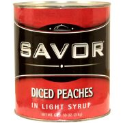 Savor Imports Diced Peaches in Light Syrup, Number 10 Can -- 6 per case.