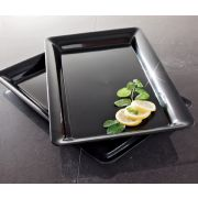 Party Tray Black Rectangular Tray, 12 x 18 -- 20 per case.