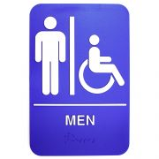 Tablecraft White On Blue Men/Accessible Braille Symbol Signage, 6 x 9 inch -- 1 each.