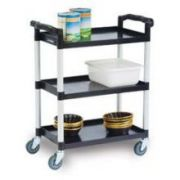 Lakeside Traditional Series KD Standard Duty Economy 3 Shelf Plastic Utility Cart, 16 x 25 1/2 inch Shelf Size -- 1 each.