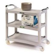 Lakeside Traditional Series KD Medium Duty Light Gray 3 Shelf Plastic Utility Cart, 16 3/4 x 29 1/2 inch Shelf Size -- 1 each.