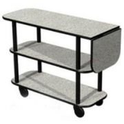 Lakeside Geneva Gray Sand Rectangular Service Cart with 10 inch Drop Leaf, 16 x 48 x 35 1/4 inch Overall Size -- 1 each.