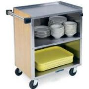 Lakeside Medium Duty Stainless Steel with Laminate Finish Enclosed Cart - 3 Edges Up and 1 Down Stainless Steel Top Shelf -- 1 each.