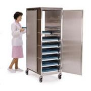 Lakeside Stainless Steel with Vinyl Exterior Compact Series 1 Front and 1 Back Door Tray Delivery Cart, 23 3/4 x 33 1/4 x 58 1/4 inch -- 1 each.