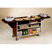 Lakeside Stainless Steel Large Drop Leaf Beverage Service Cart with Vinyl Finish, 24 x 61 3/4 x 38 5/16 inch Overall Size -- 1 each.