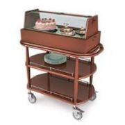 Lakeside Geneva Wood Veneer Spice Finish Square Dessert and Pastry Cart, 21 5/8 x 43 3/8 x 47 1/4 inch Overall Size -- 1 each.