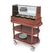 Lakeside Geneva Wood Veneer Spice Finish Square Double Shelf Dessert and Pastry Cart, 21 5/8 x 43 3/8 x 53 1/2 inch Overall Size -- 1 each.