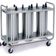 Lakeside Stainless Steel 3 Stack Heated Regular Open Tubular Frame Plate Dispenser - 9 1/4 to 10 1/8 inch Accommodate Plate Size -- 1 each.