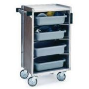 Lakeside Stainless Steel Walnut Vinyl Finish Enclosed Bussing Cart, 17 5/8 x 27 3/4 x 42 7/8 inch Overall Size -- 1 each.