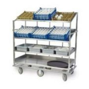 Lakeside Stainless Steel 3 Flat and 1 Angled Shelf Soiled Dish Breakdown Cart, 28 x 62 inch Shelf -- 1 each.