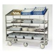 Lakeside Stainless Steel 1 Flat and 3 Angled Shelf Soiled Dish Breakdown Cart, 28 x 46 inch Shelf -- 1 each.