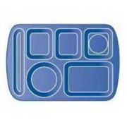 Carlisle Economy Variegated 6 Compartment Left-Hand Melamine Tray with Handle -- 1 each.