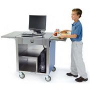 Lakeside Stainless Steel with Laminate Finish Cashier Stand, 26 1/4 x 51 1/4 x 35 inch -- 1 each.
