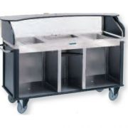 Lakeside Serv N Express Style 2 Stainless Steel 3 Hole Top and Base Mobile Kiosk, 28 1/4 x 77 1/4 x 52 1/2 inch Overall Size -- 1 each.