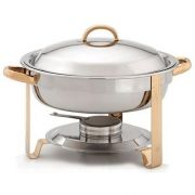 Alegacy Gold Accented Round Chafer, 4 Quart -- 1 each.