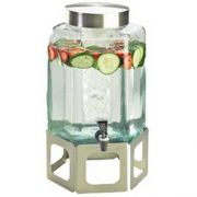 Cal Mil 2 Gallon Stainless Steel Cutout Glass Beverage Dispenser with Infusion Chamber, 10.75 x 11.5 x 22.75 inch -- 1 each.
