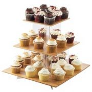 Cal Mil Large 3 Tier Cupcake Display with Bamboo Shelves, 20 x 20 x 17.25 inch -- 1 each.