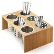 Cal Mil Bamboo Six Hole Cylinder Display Stand, 16 x 11 x 6 inch -- 1 each.