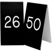 Cal Mil Black with White 26 to 50 Engraved Number Tent Set, 3.5 x 1 x 5 inch -- 1 each.