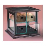 Cal Mil Wood Frame Bread Case - Four Drawer with Green Glass Acrylic Body, 16 1/2 x 15 x 15 3/4 inch -- 1 each.