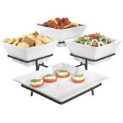 Cal Mil Melamine Platter and Square Bowl Display, 19.5 x 19.5 x 11 inch -- 1 each.
